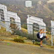 Behind the Hollywood Sign, metal fence, Los Angeles, California