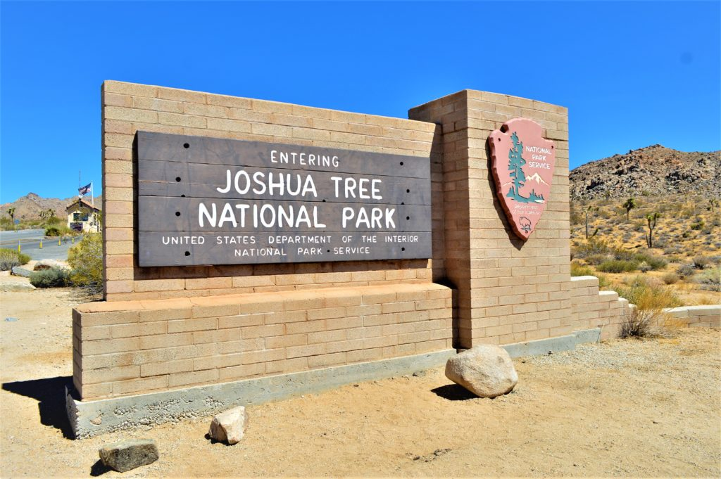 Entering Joshua Tree National Park sign