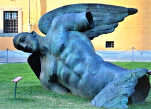 Fallen angel statue, Pisa, Leaning tower, Italy created by the Polish artist Igor Mitoraj