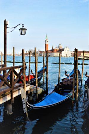 Gondola parked in Venice, Italy