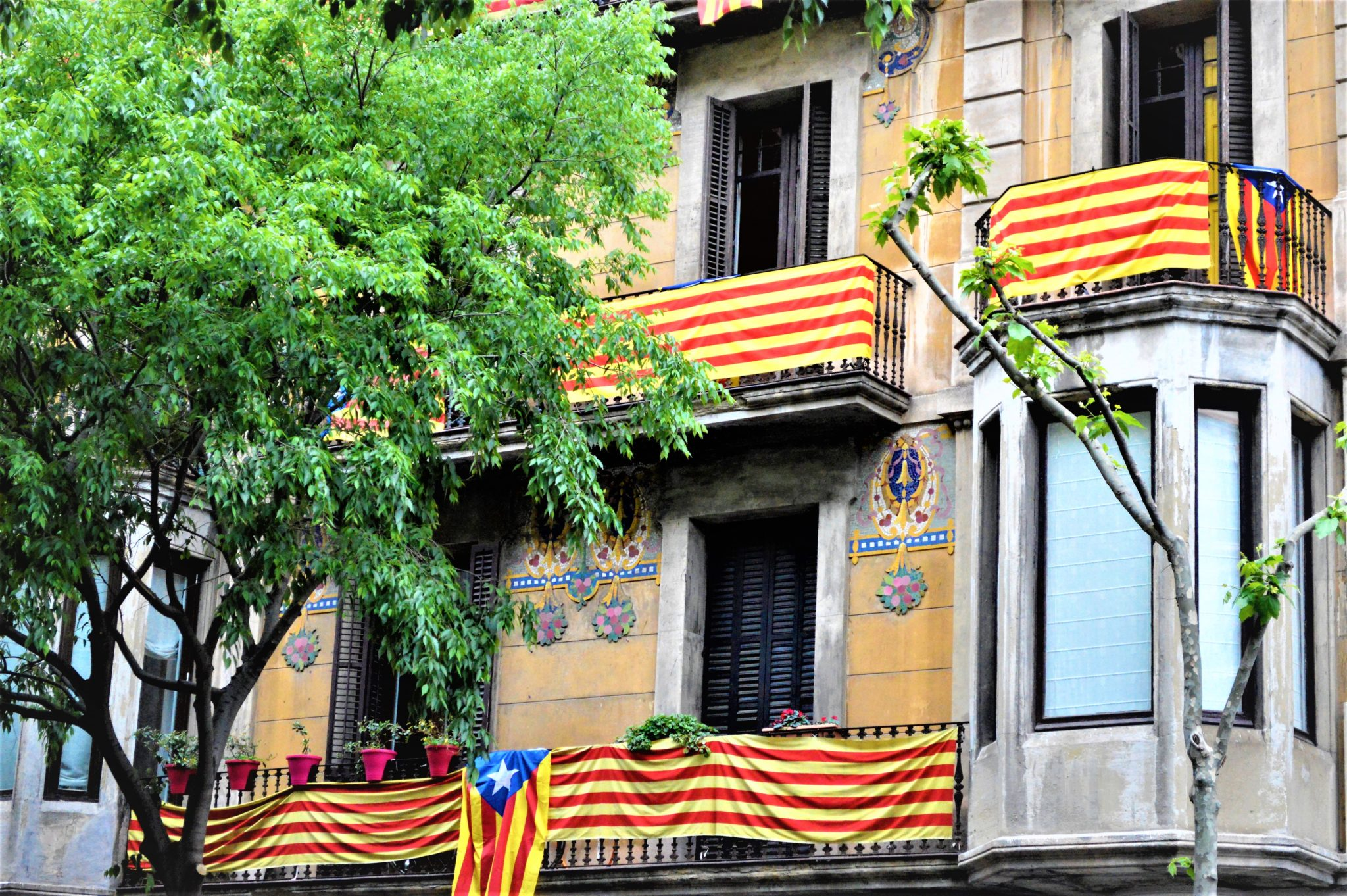Barcelona homes, residences flags in windows, Spain