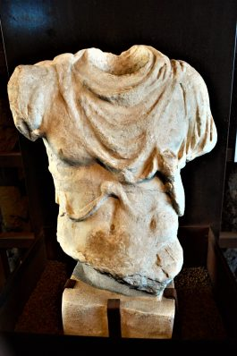 Bust in Roman Colosseum museum, Rome, Italy