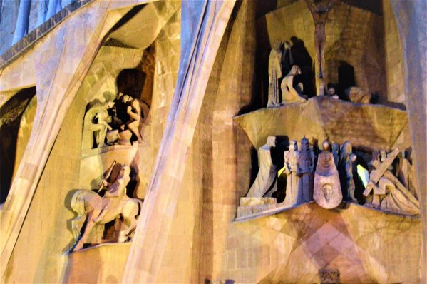 Carvings on the Sagrada Familia, Barcelona, Spain