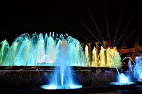 Colourful lights, Dancing Fountains, Barcelona, Spain