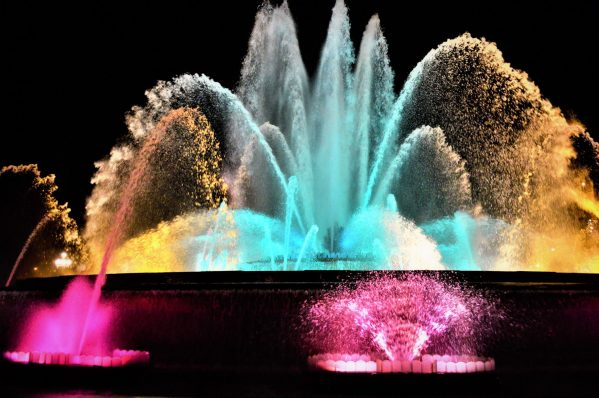 Colourful water, dancing fountains, Barcelona, Spain