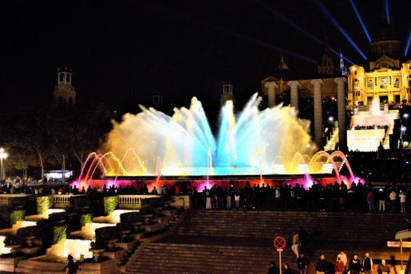Colourful water fountains, Barcelona, Spain