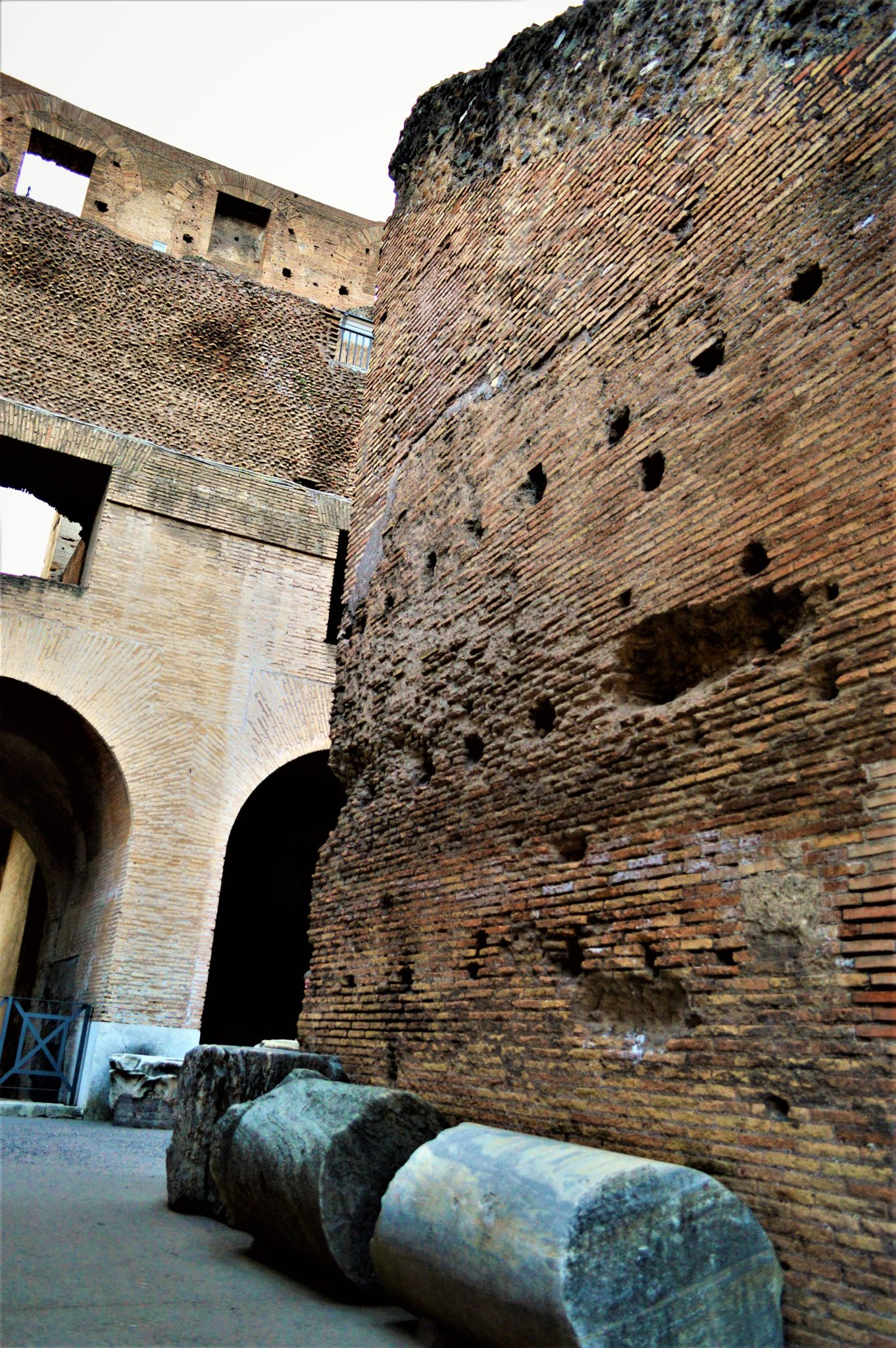 Column pieces in the Roman Colosseum, Rome, Italy