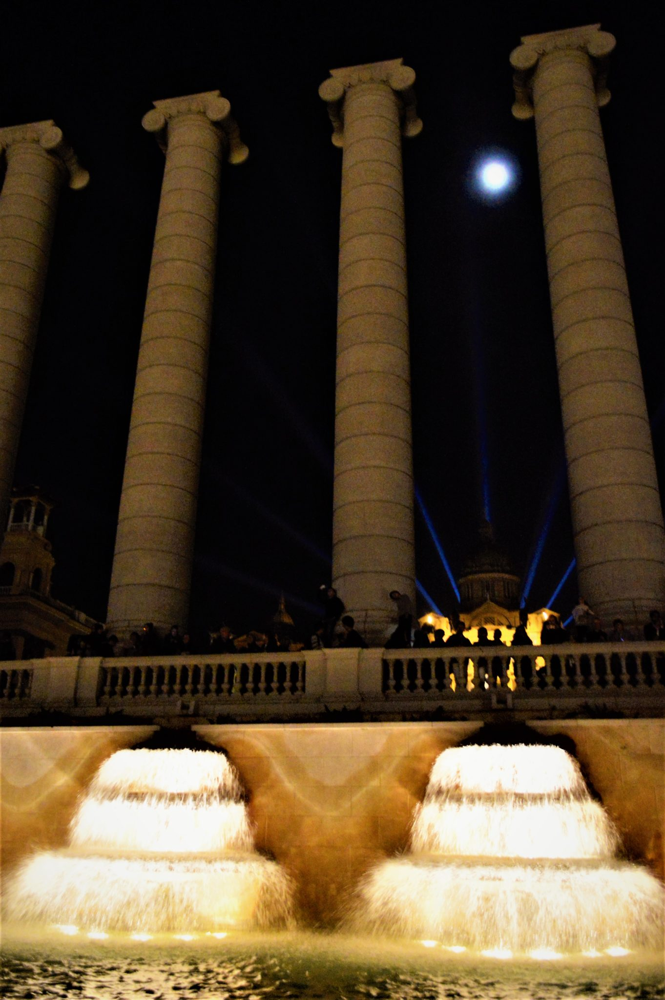 Columns at the dancing fountains, Barcelona, Spain