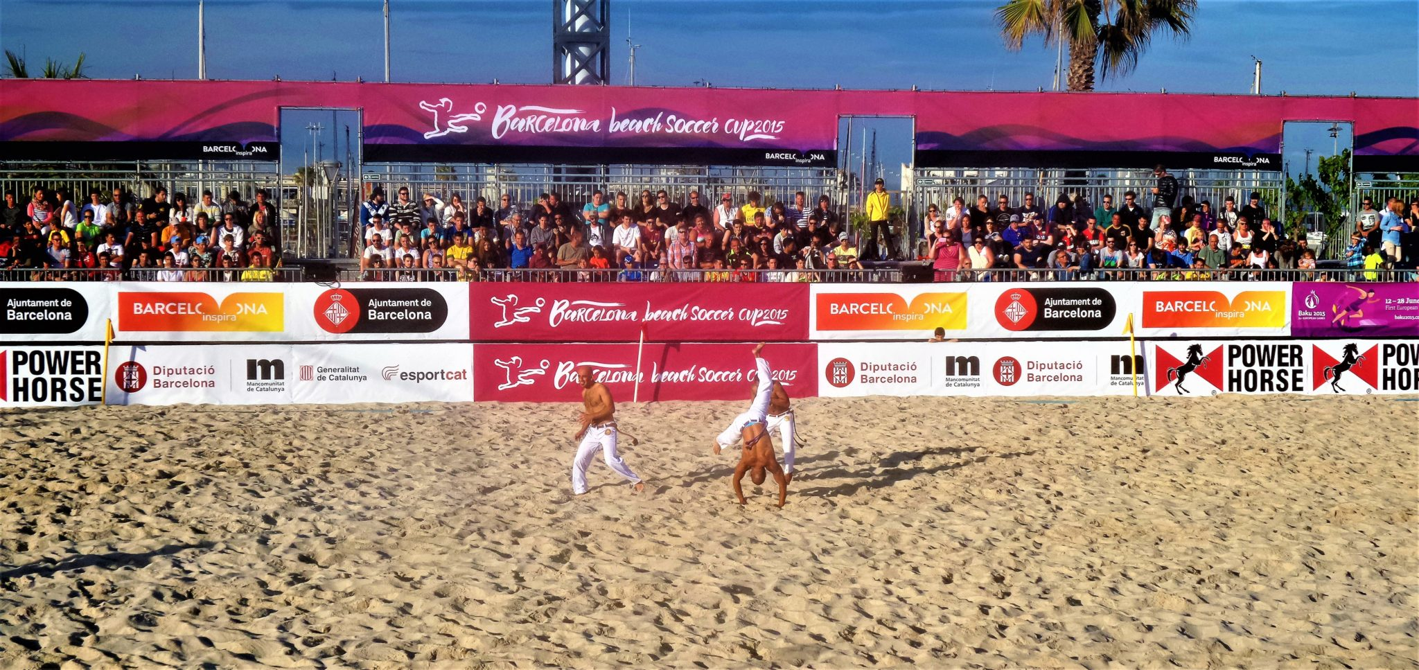 Entertainment at Beach soccer tournament, Barcelona, Spain