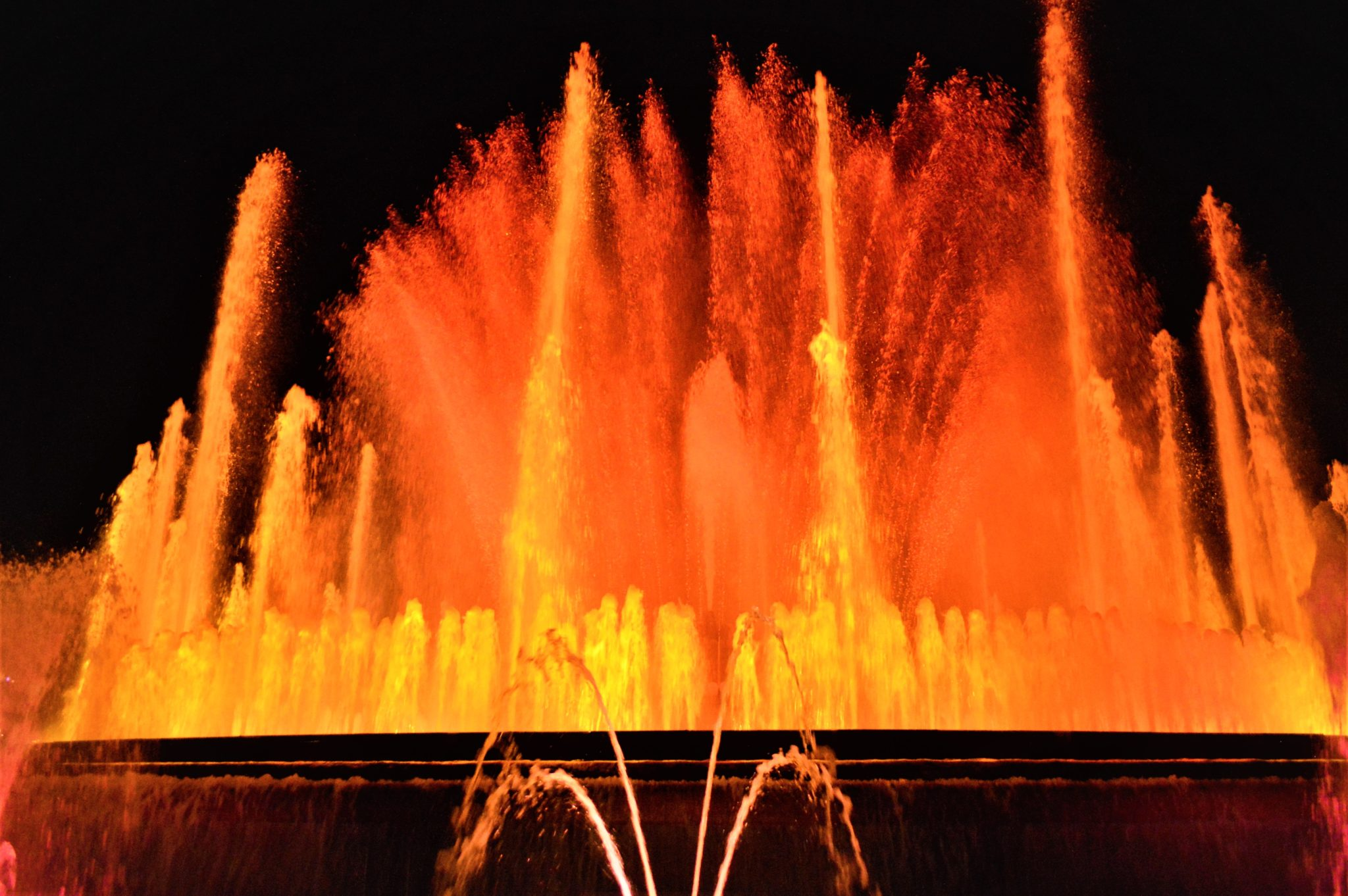Fire water at the Barcelona dancing fountains, Spain