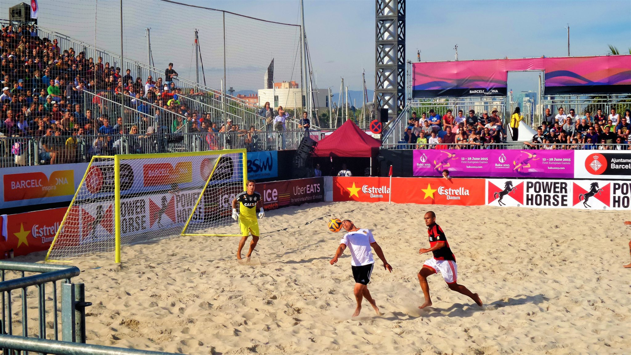Game at Beach soccer, Barcelona, Spain