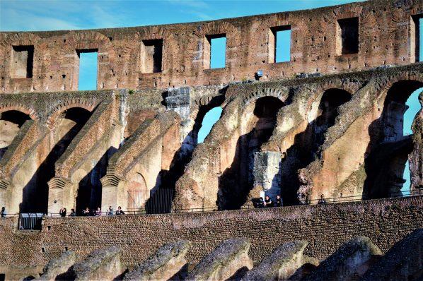Inside the Roman Colosseum platforms, Rome, Italy
