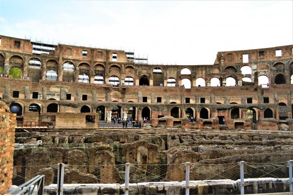 Overlooking ground of Roman Colosseum, Rome, Italy