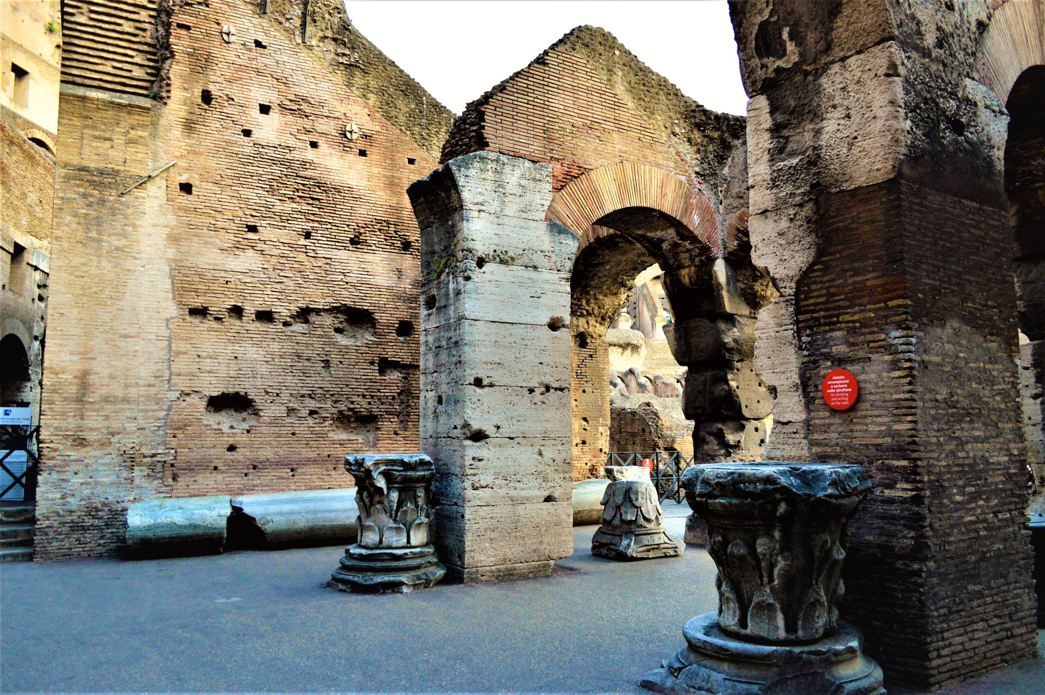 Pillars inside the Roman Colloseum, Rome, Italy