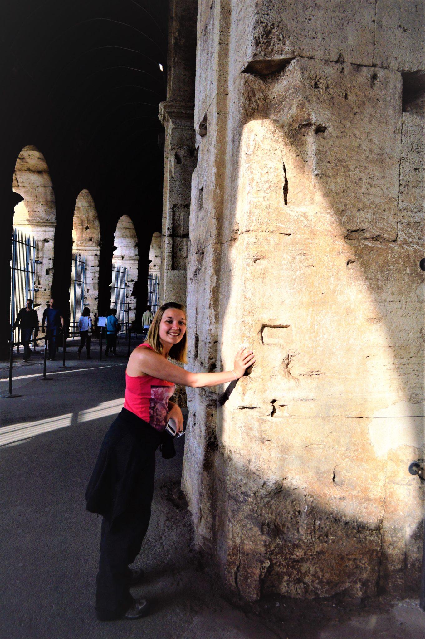Stone inside the Roman Colosseum, Rome, Italy