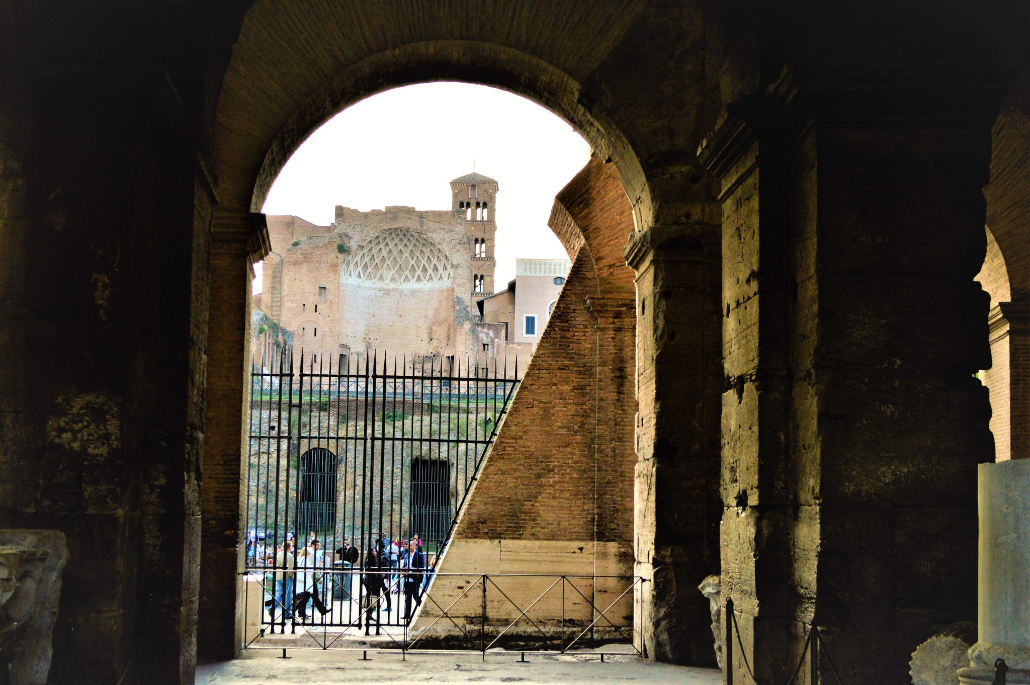 View of outside from the Roman Colosseum, Rome, Italy