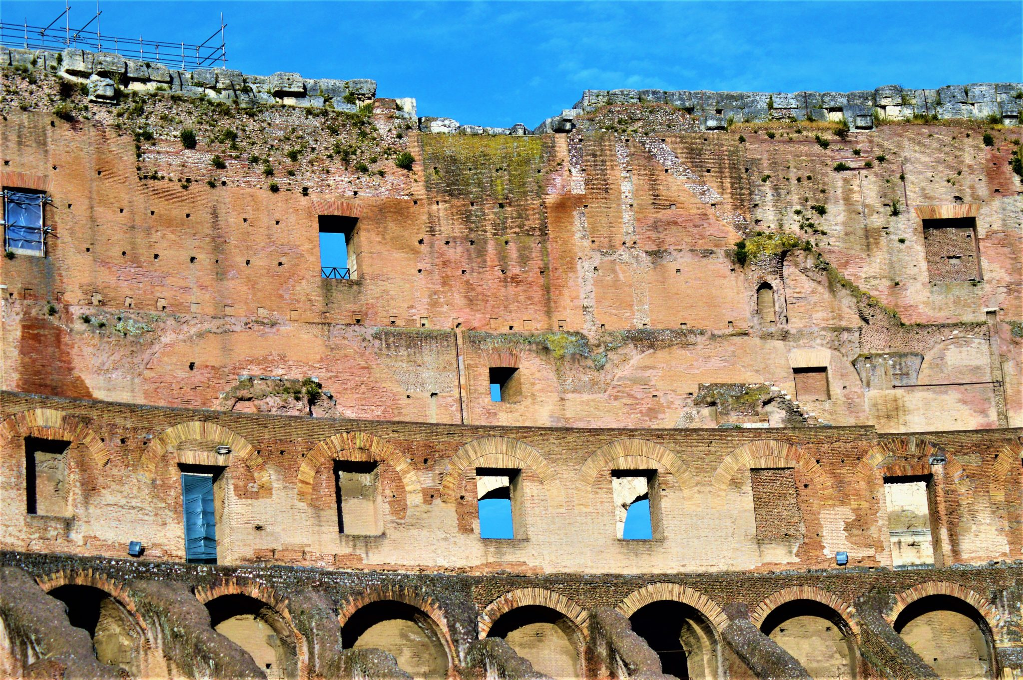 Wall and windows inside the Colosseum, Rome, Italy