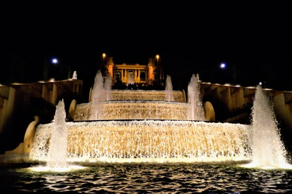Waterfall at the Dancing Fountains, Barcelona, Spain