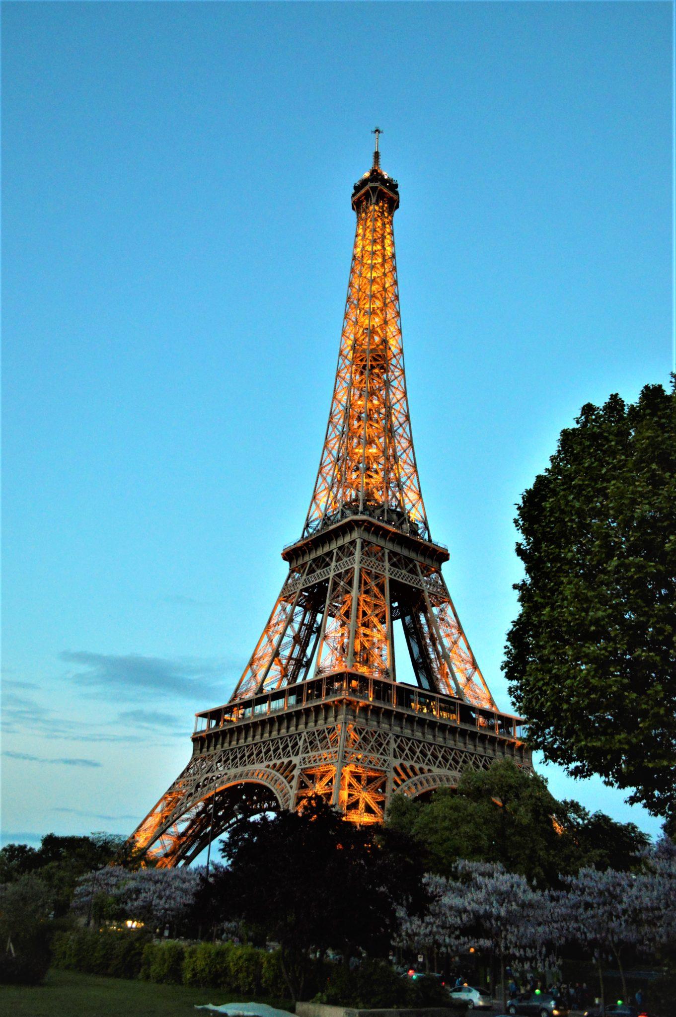 Eiffel Tower lit up, Paris, France