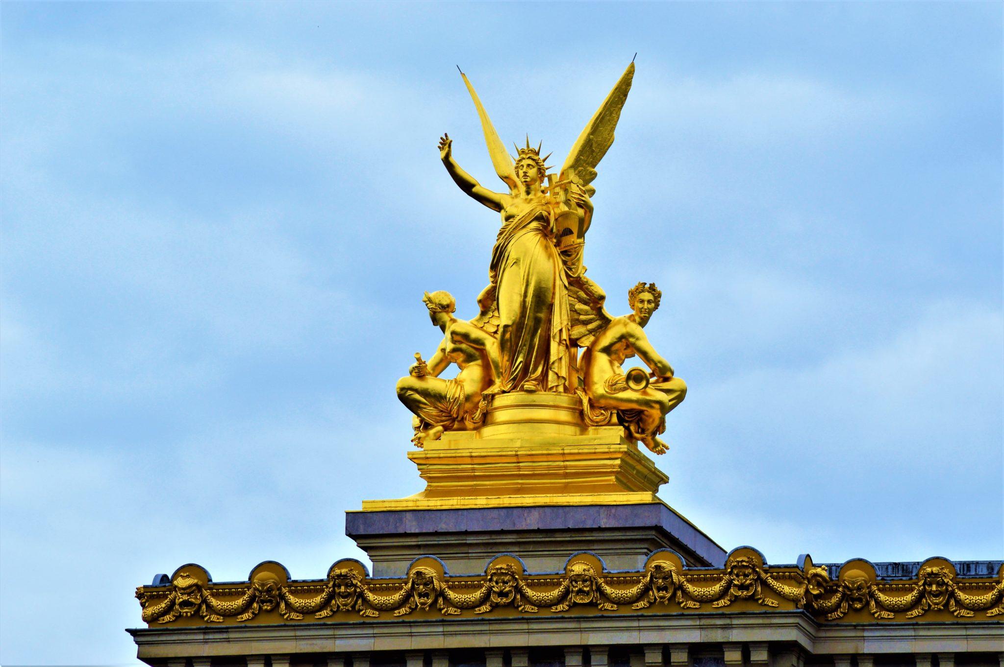 Gold statue, Academie De Musique, Paris, France