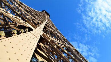 Looking up Eiffel Tower, Paris, France