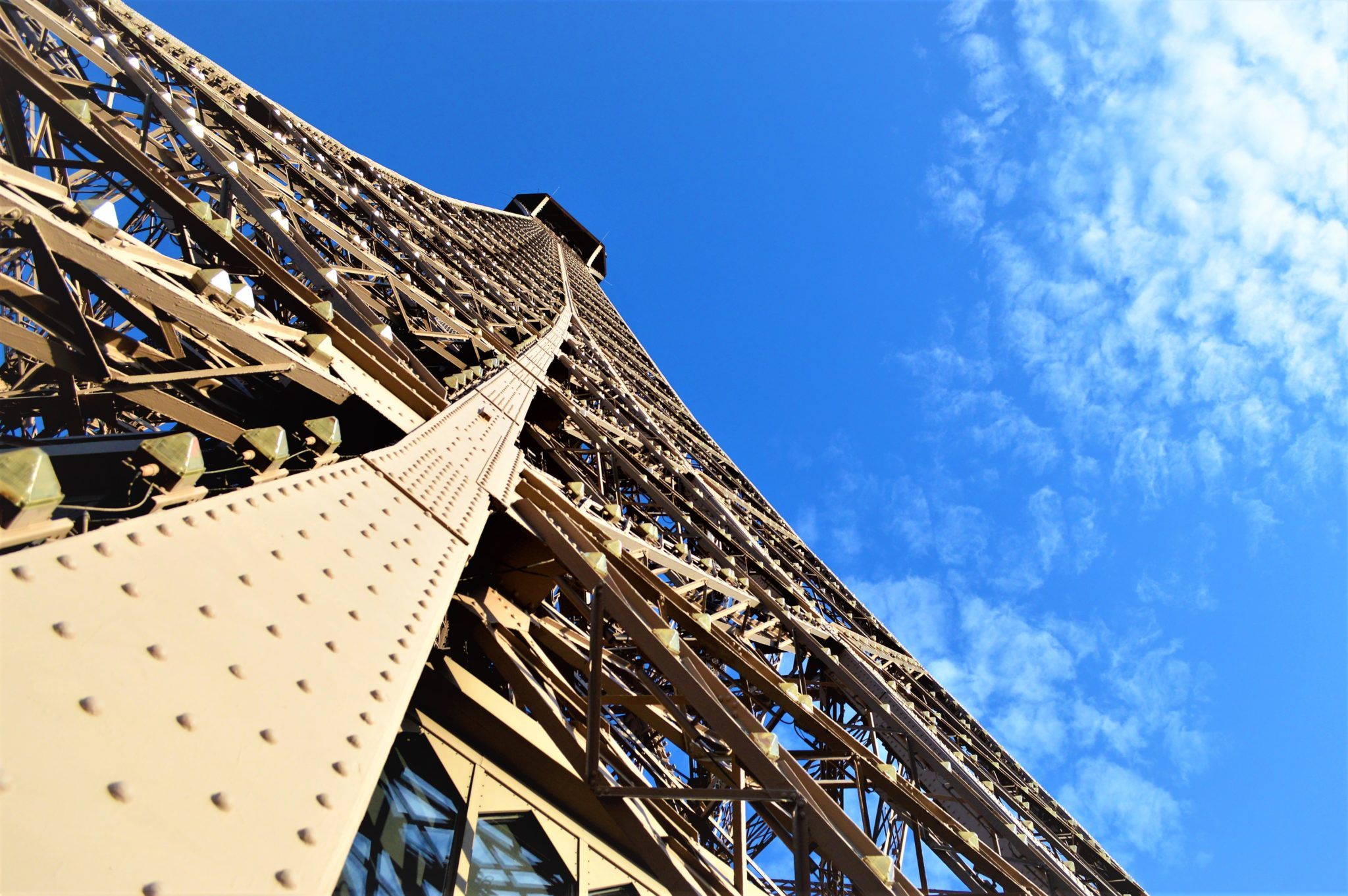 Looking up Eiffel Tower, Paris, France