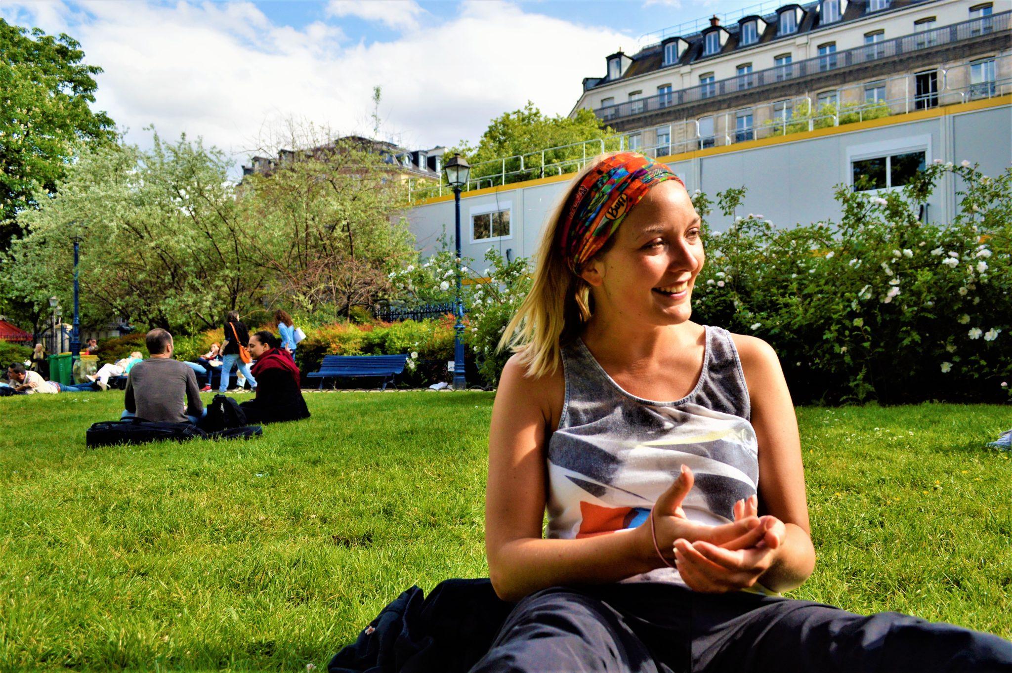 Nicola enjoying picnic, Paris, France