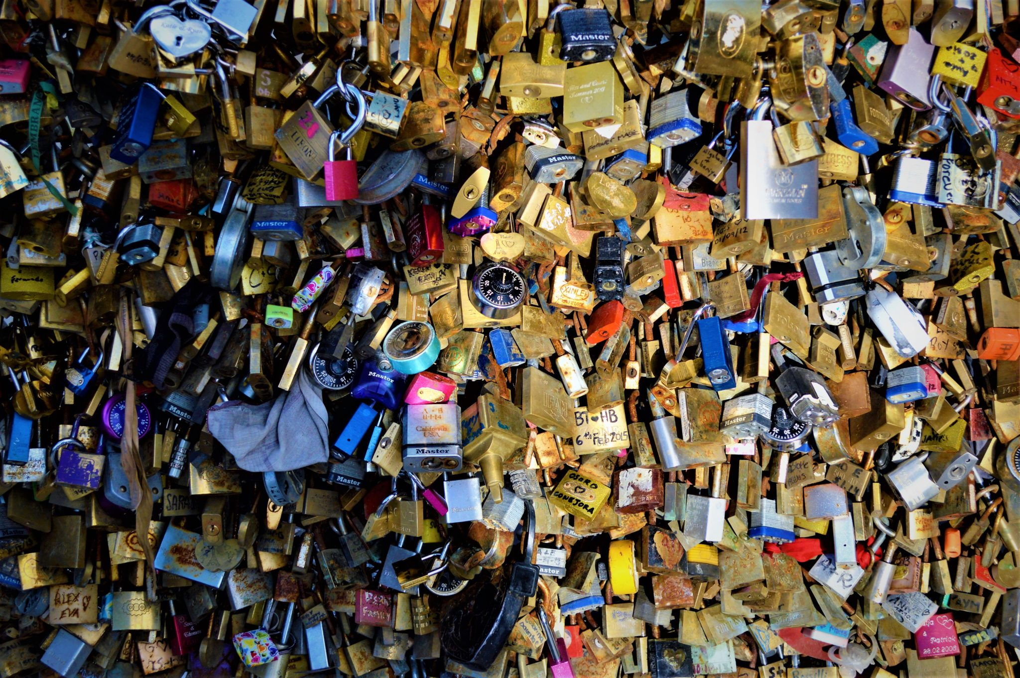 Padlocks on the Love Lock Bridge, Paris, France