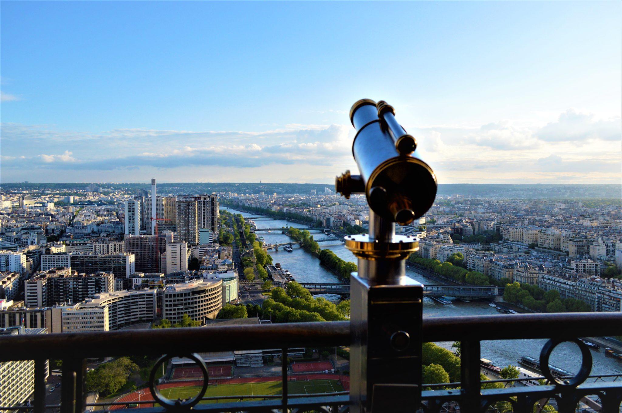 Telescope half way up Eiffel Tower, Paris, France