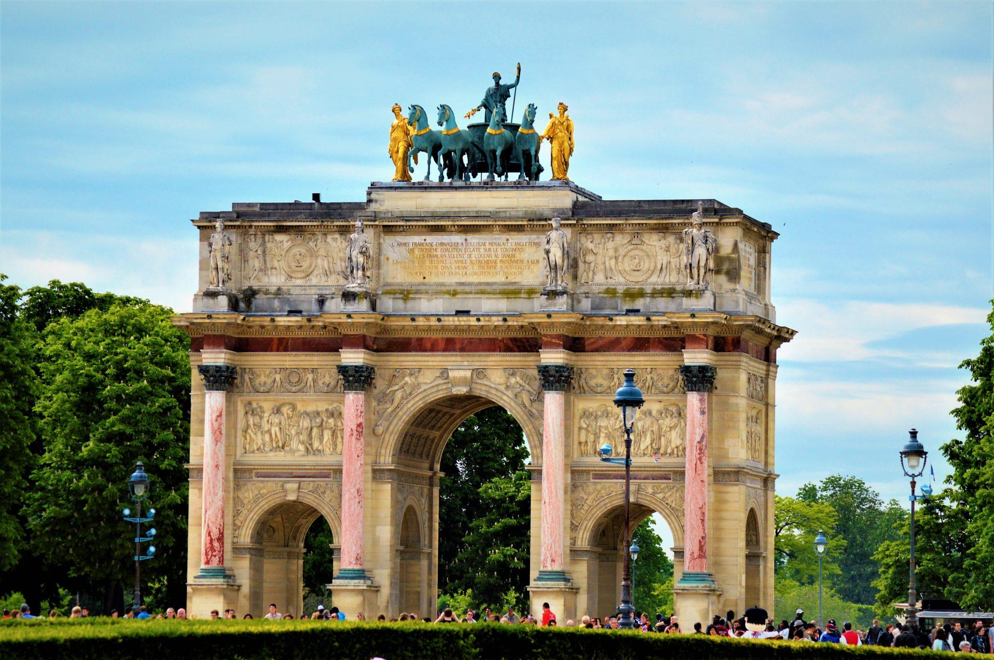 The Arc de Triomphe du Carrousel near Louvre, Paris, France