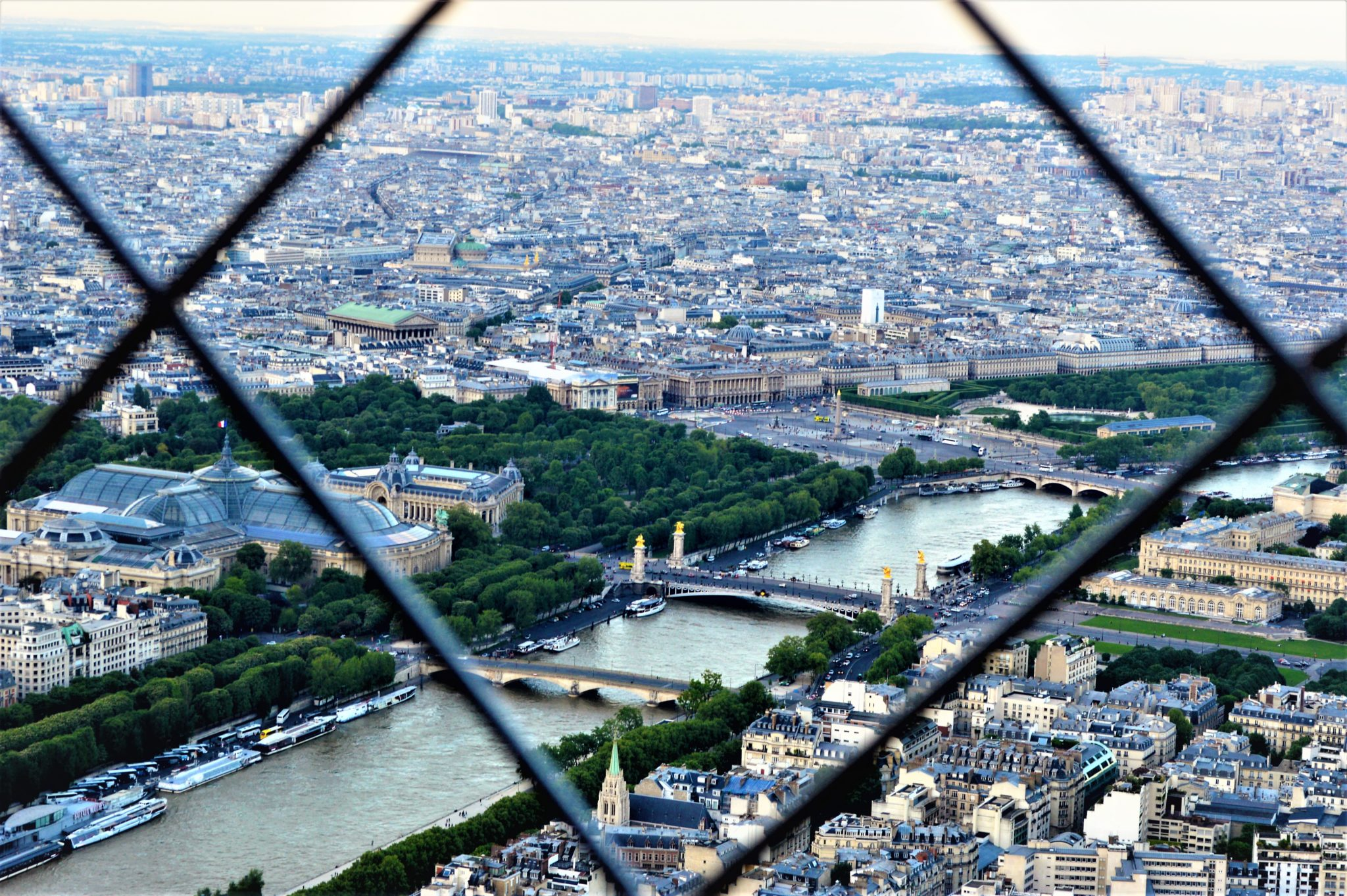 View from top of the Eiffel Tower, Paris, France
