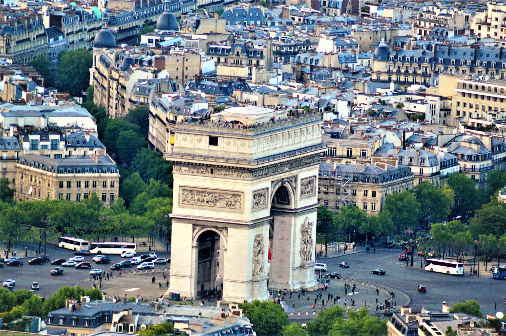 View of Arc Du Triomphe, Paris, France