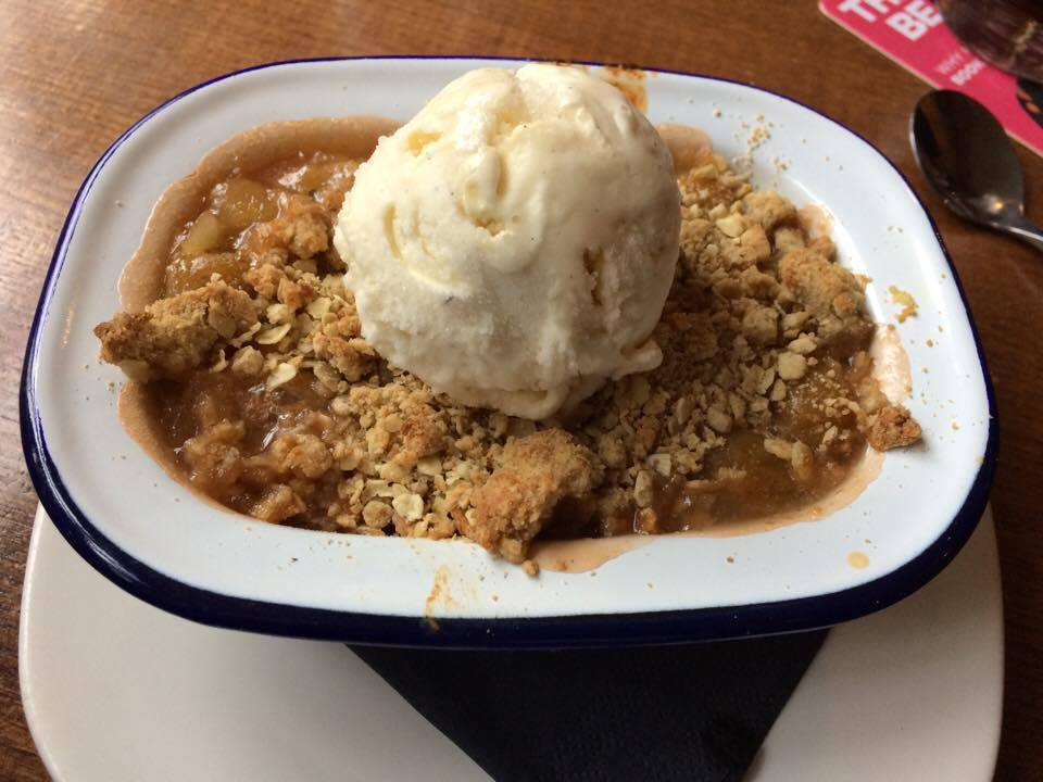 Apple crumble and ice cream, ship inn ouseburn newcastle vegan menu