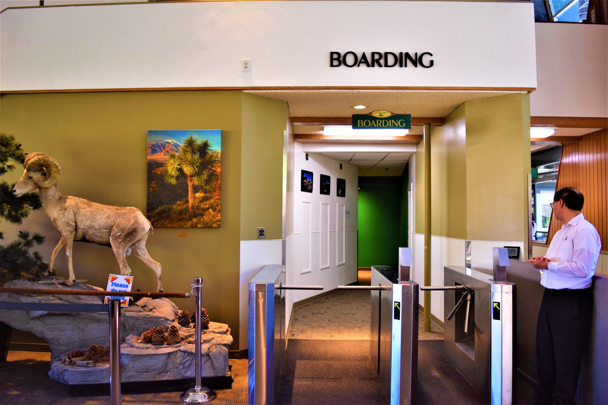 Boarding area, Palm Springs tramway, California. USA