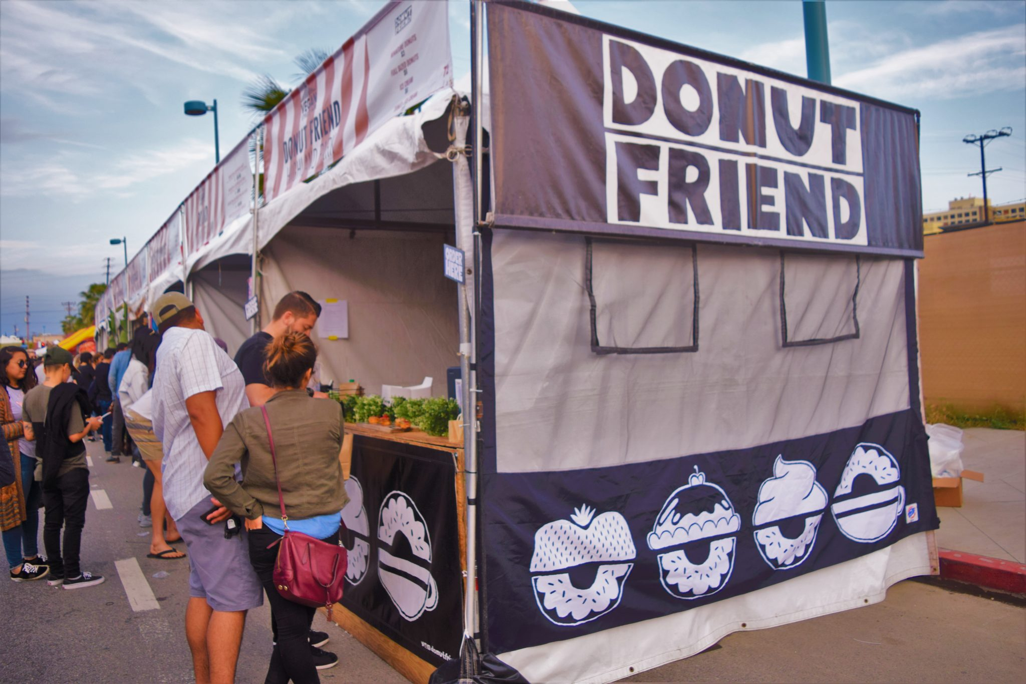 Donut friend food stall at the Vegan Street Fair, Los Angeles, California