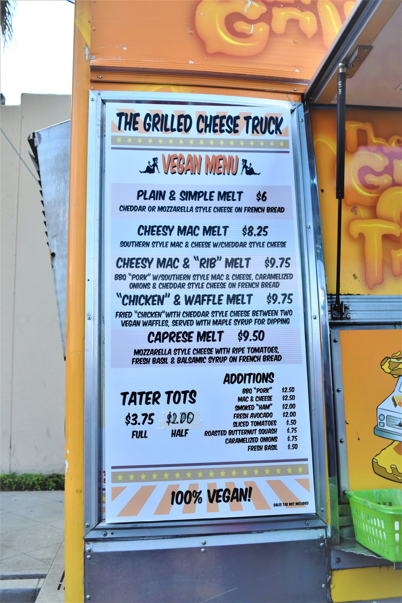 Grilled Cheese truck vegan menu, Los Angeles, California