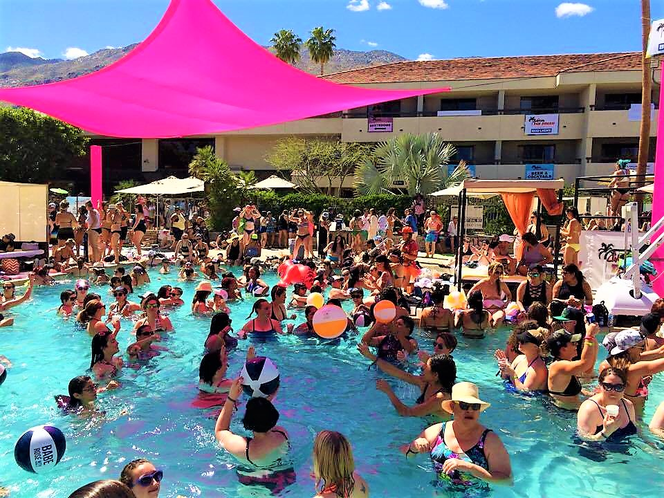 Pool party Hilton hotel Dinah Shore weekend, Palm Springs, California