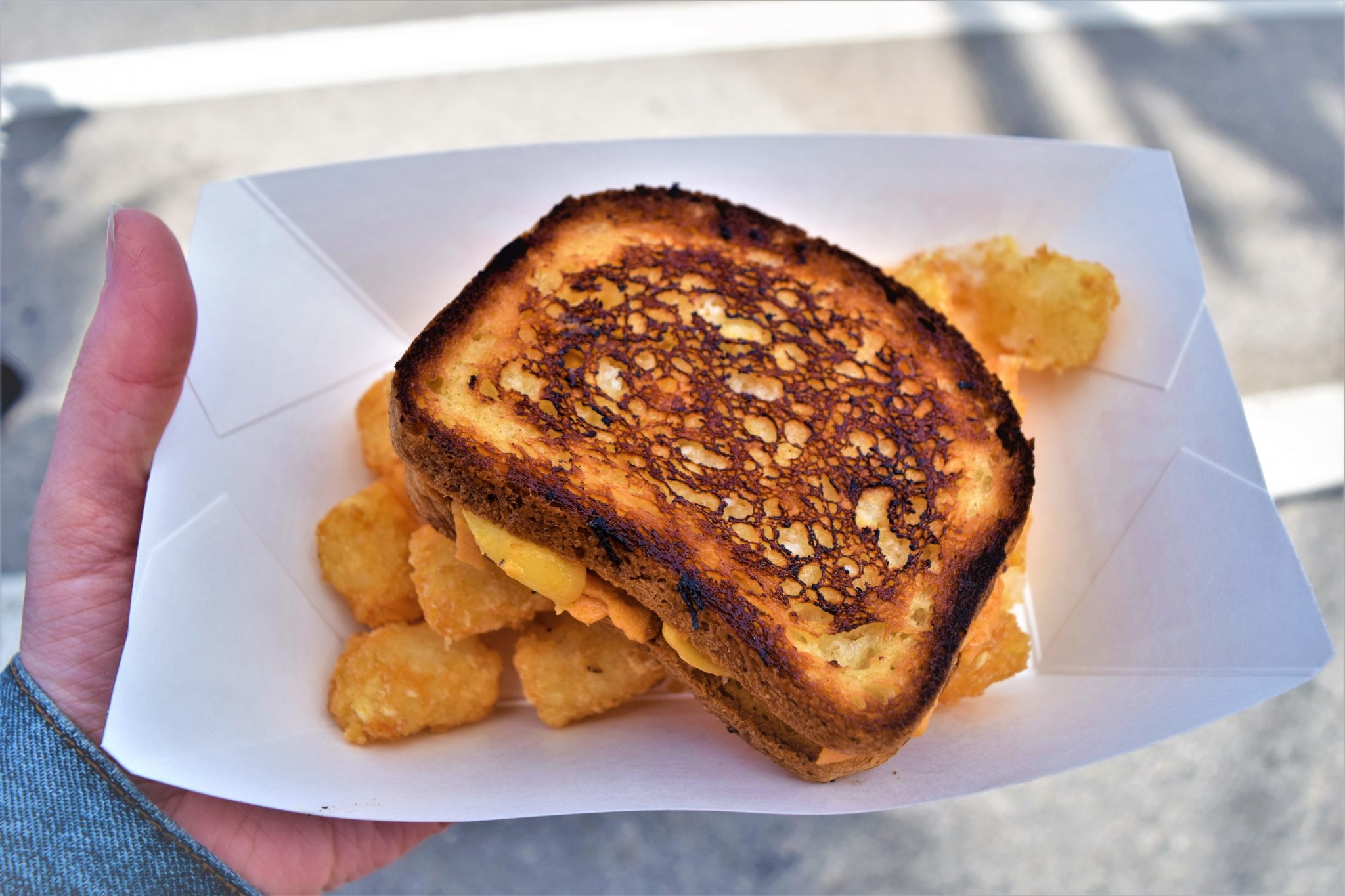Vegan Grilled cheese, van at Los angeles vegan street fair, California