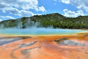 Grand Prismatic Spring orange pool, Yellowstone National Park, USA