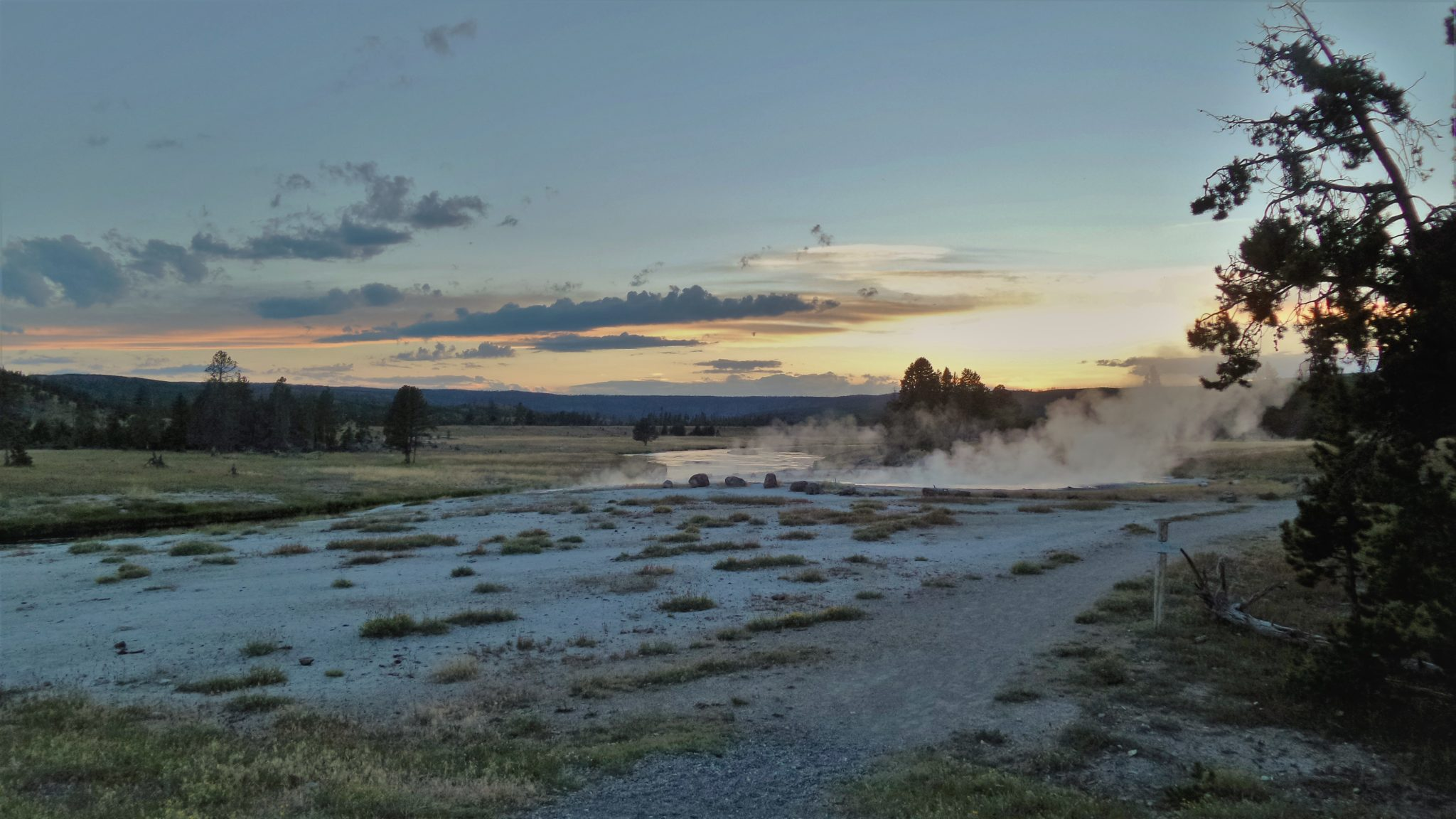 Sunset Yellowstone National Park geyser