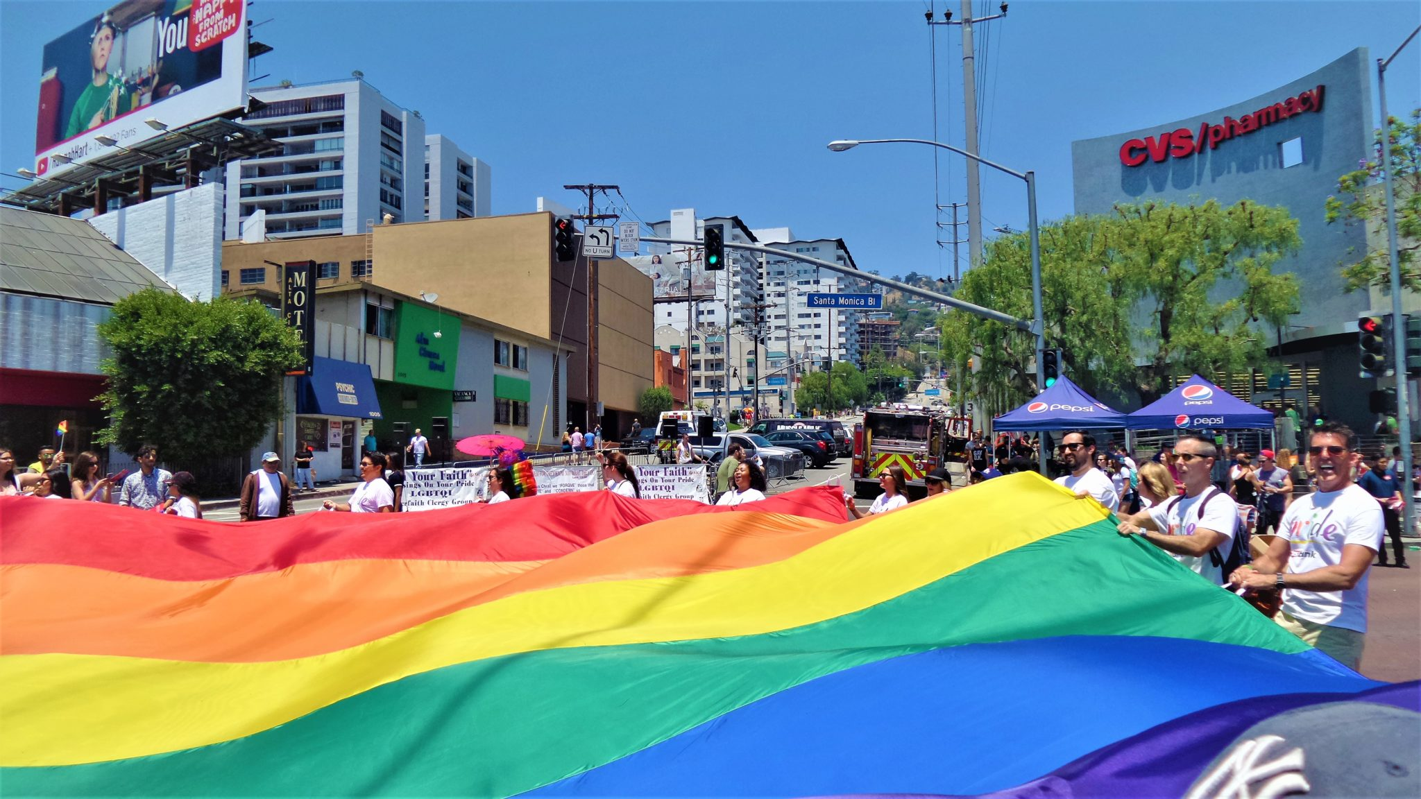 Large rainbow flag, LA Pride parade, los angeles, california