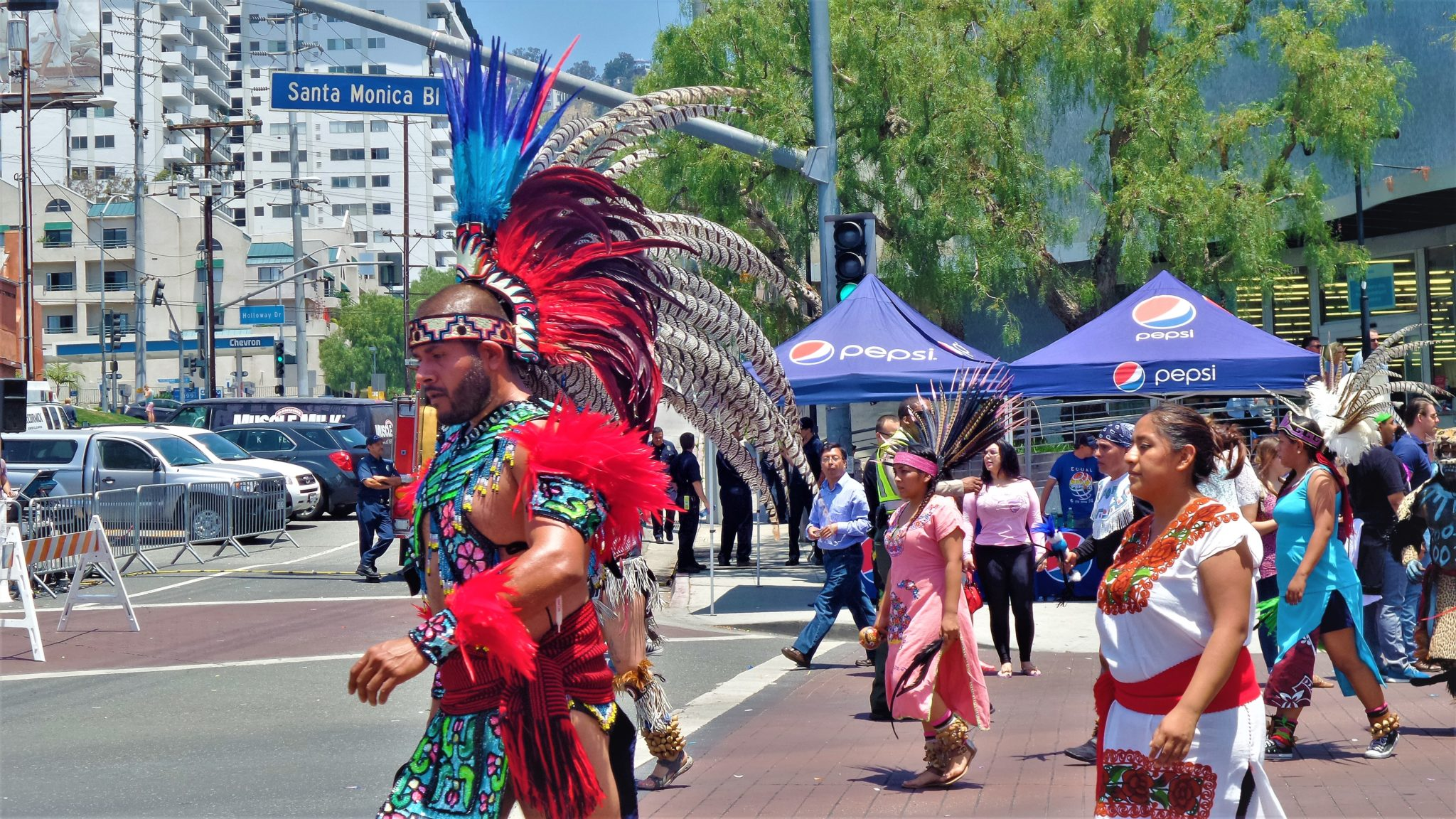 Pow wow in LA pride parade, los angeles, california