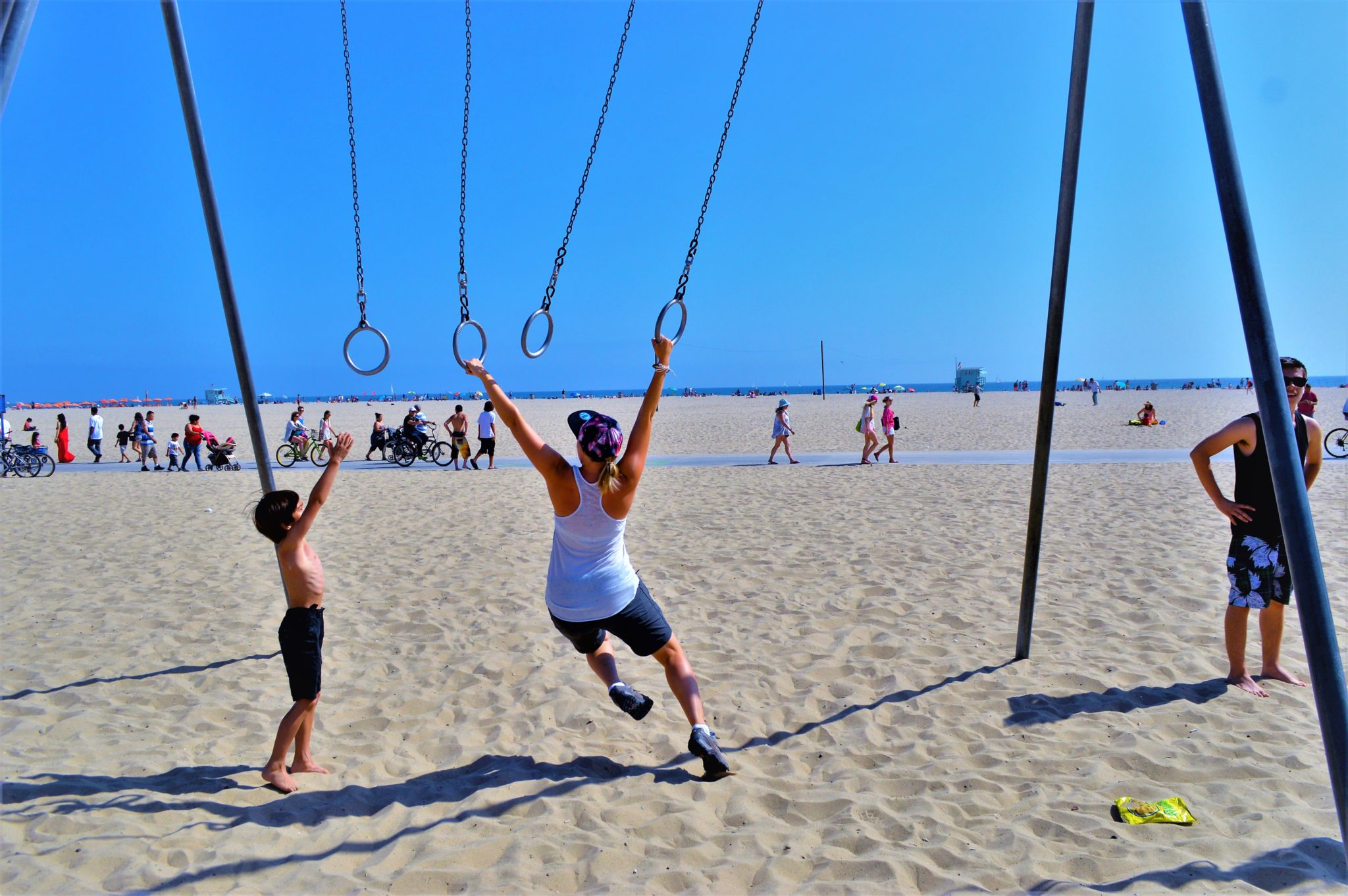 Ring gymnastics, santa monica beach, things to do in los angeles