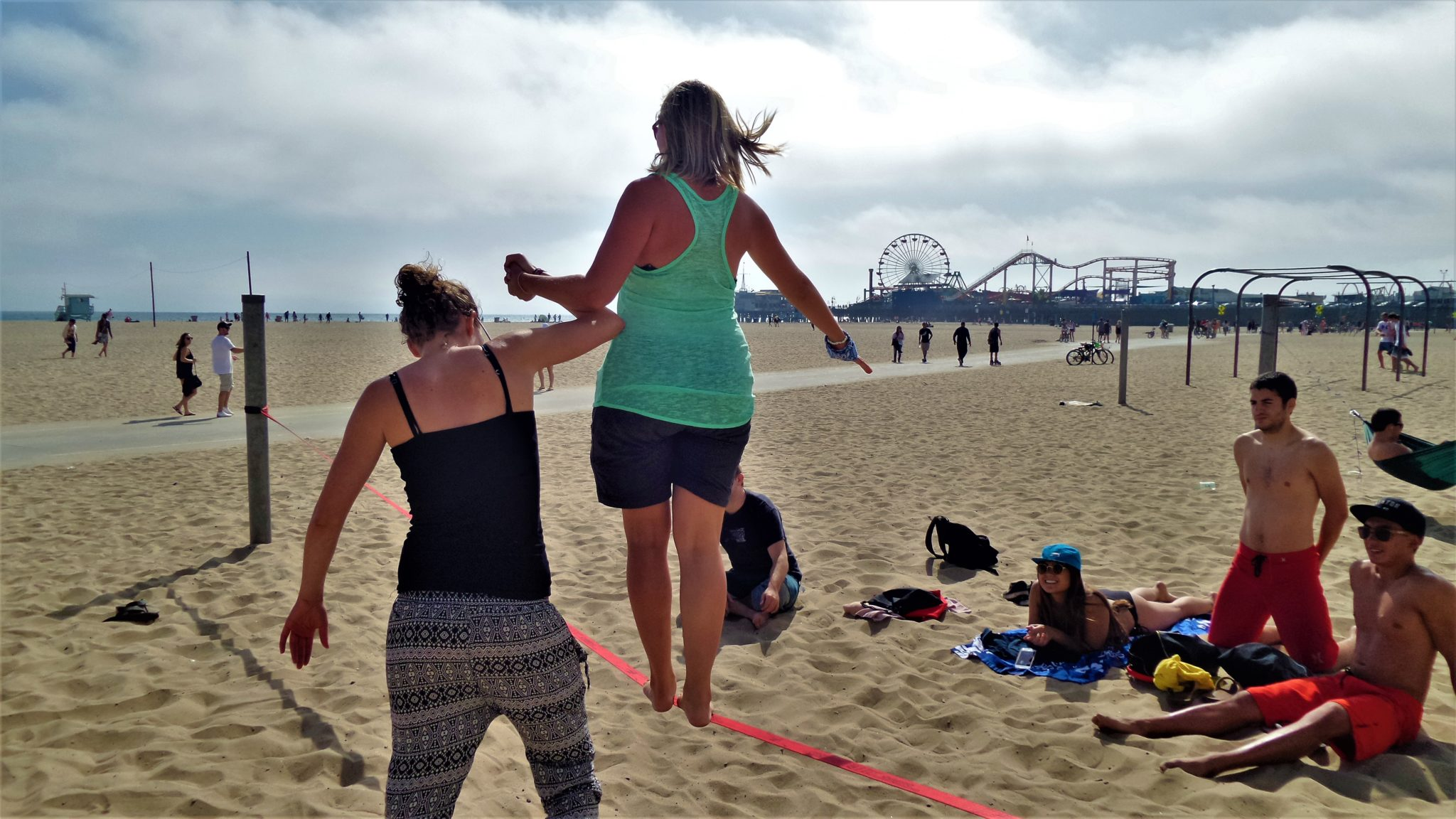 Tightrope walking, santa monica beach, things to do in los angeles
