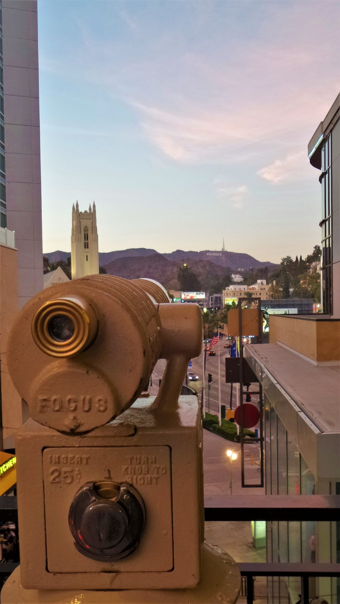 View of Hollywood sign from Hollywood Boulevard, thins to do in los angeles