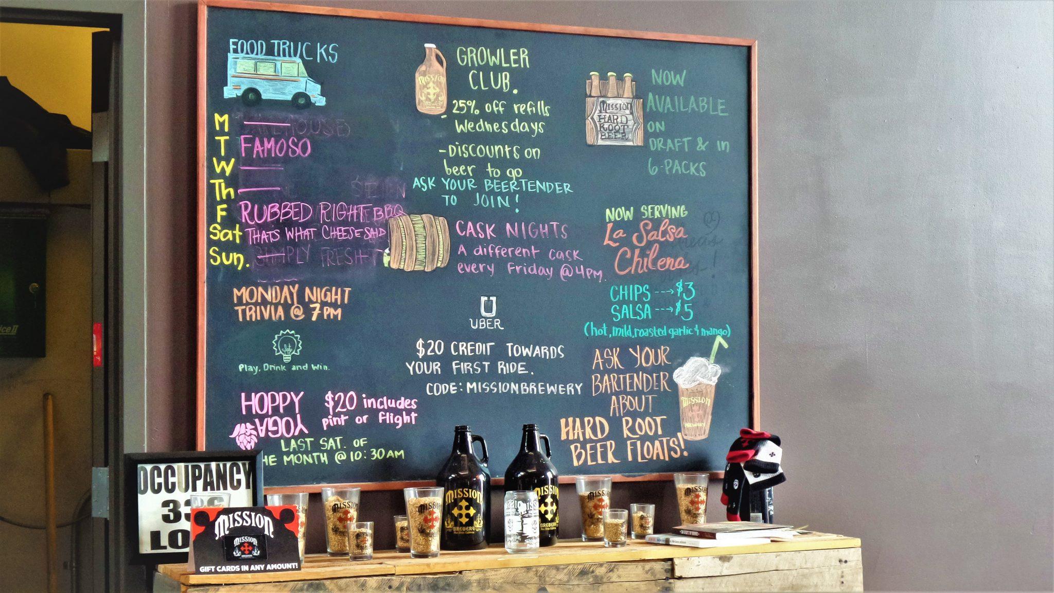Bar area, Mission Brewery San Diego, California