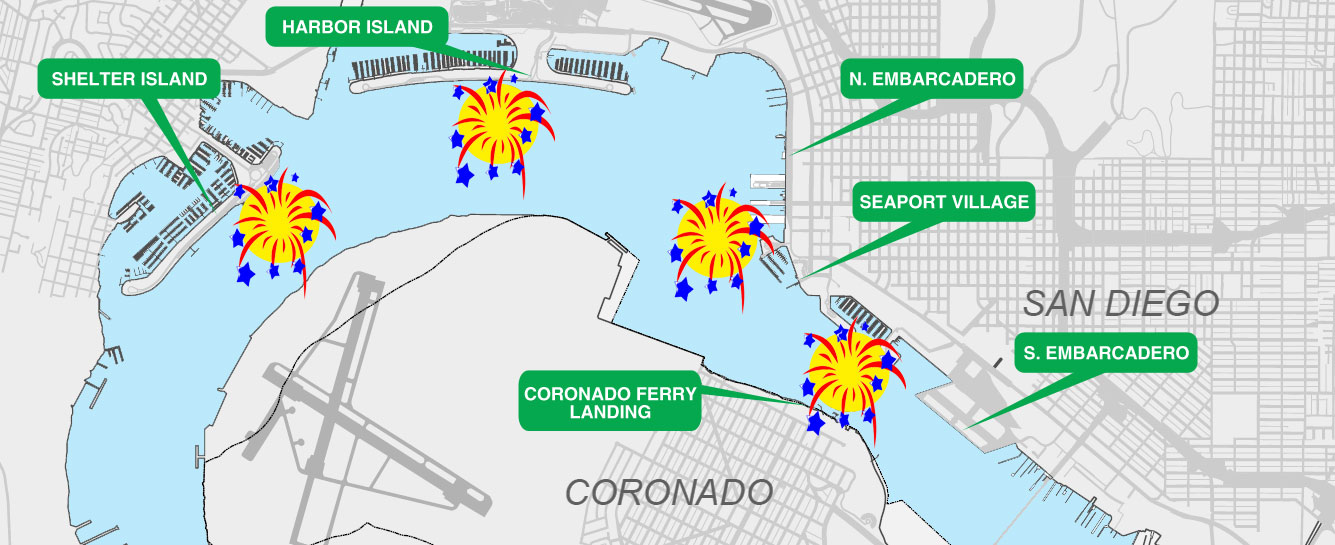 Big Bay Boom location where do the fireworks go off, San Diego, California