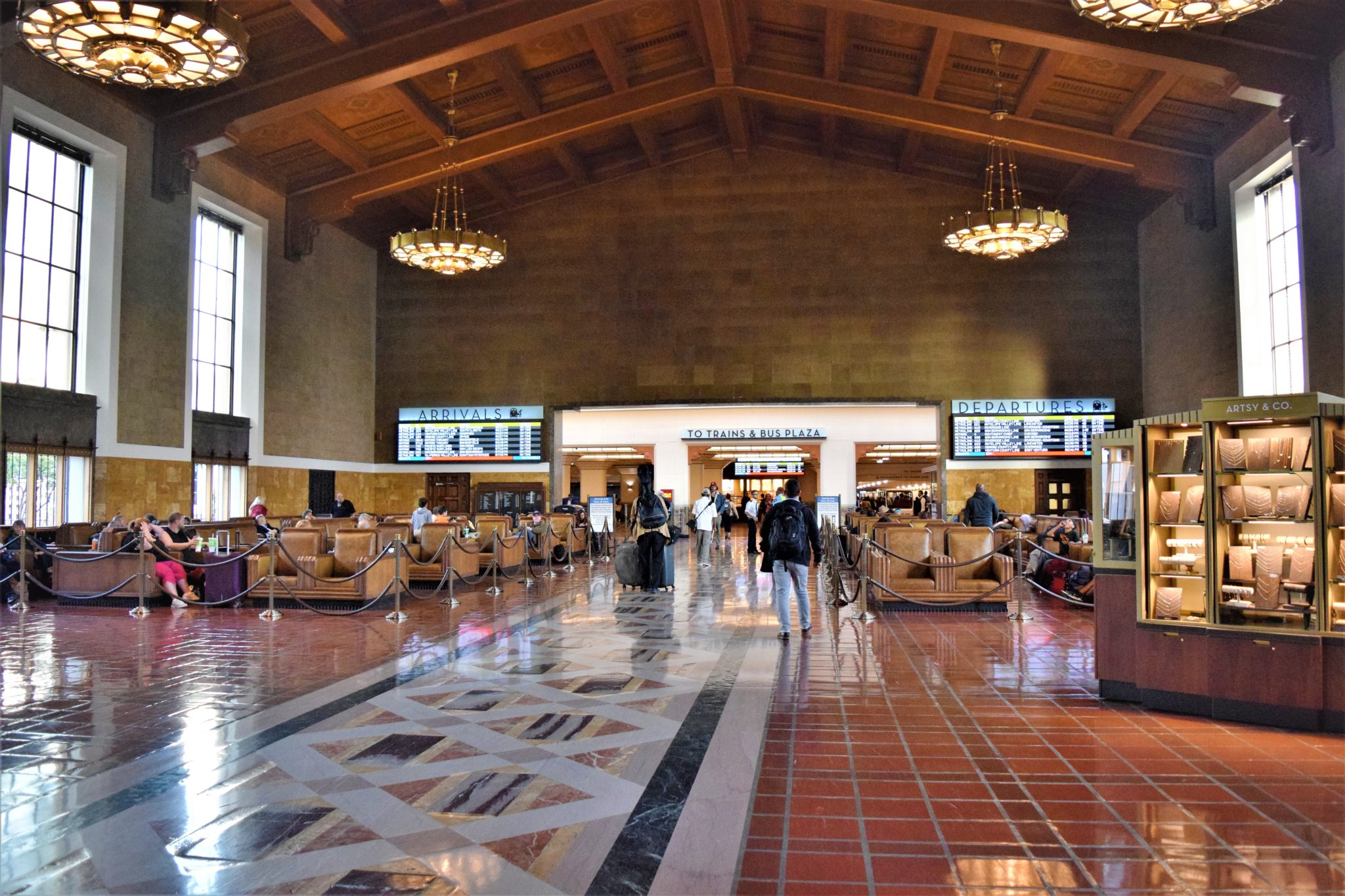 Inside Union Station Los Angeles, trains in california