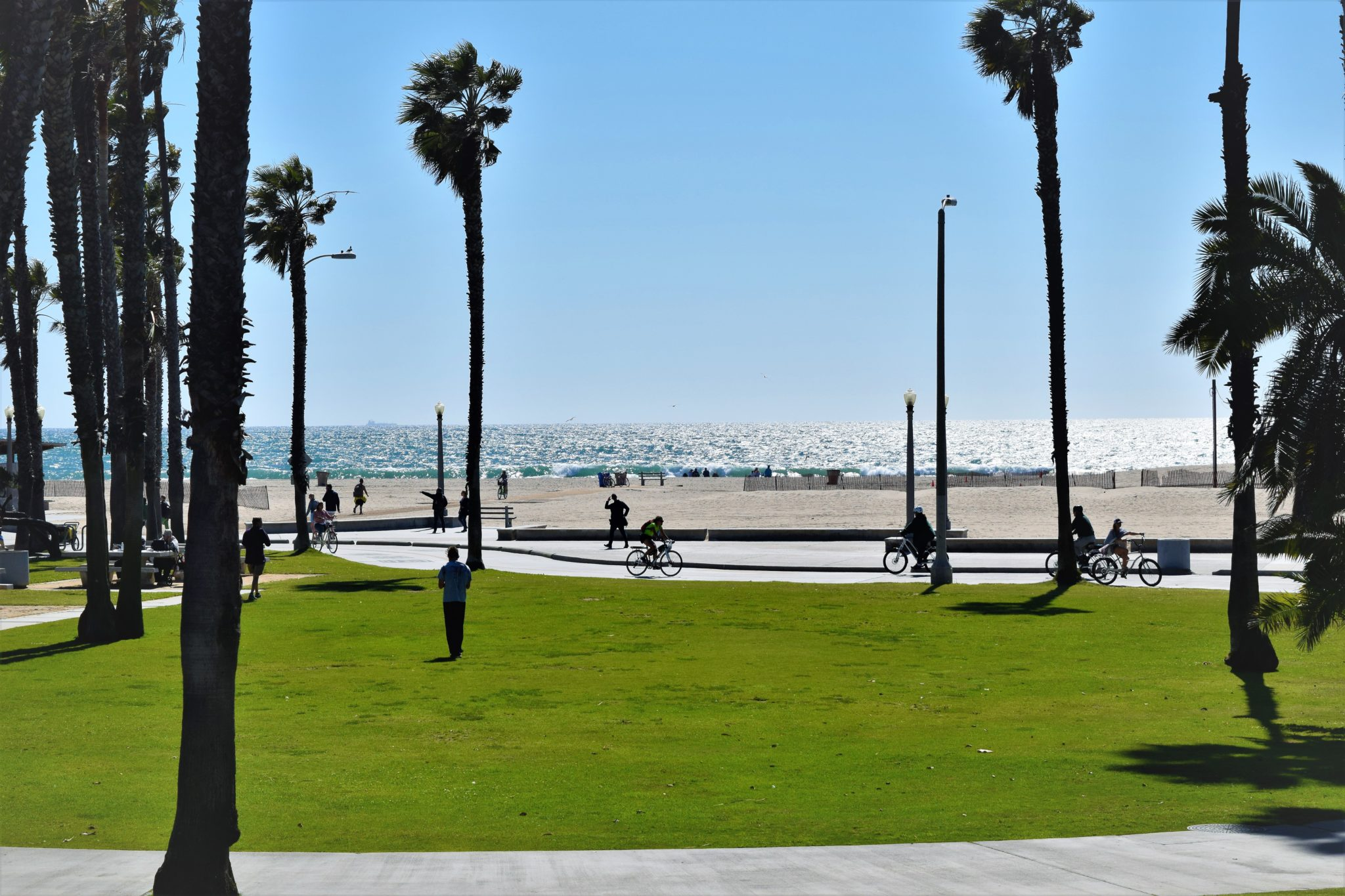 Santa Monica beach, hop on hop off bus los angeles
