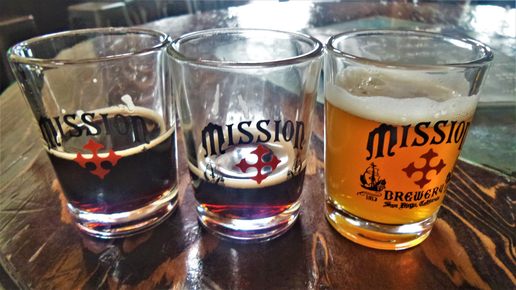 Taster glasses at the Mission Brewey Tour, things to do in San Diego, California